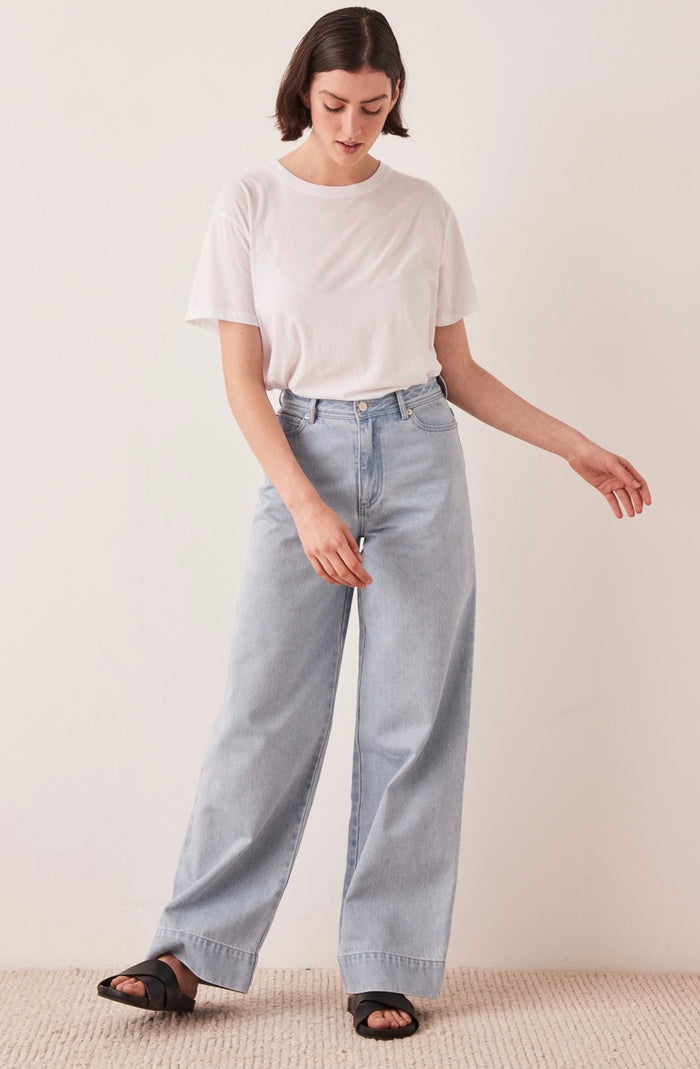 Wide leg jean pacific blue, assembly label, Mika and max