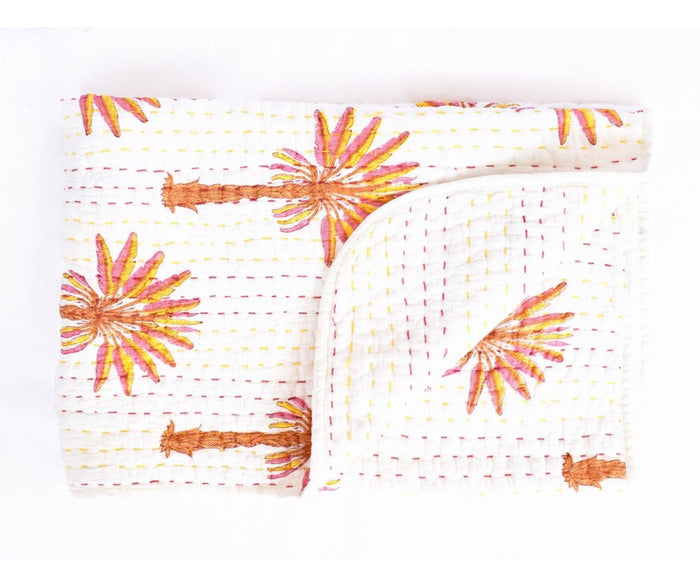Mini Kantha Peachy Palm, Kantha quilt, Garzie and May - Mika and Max
