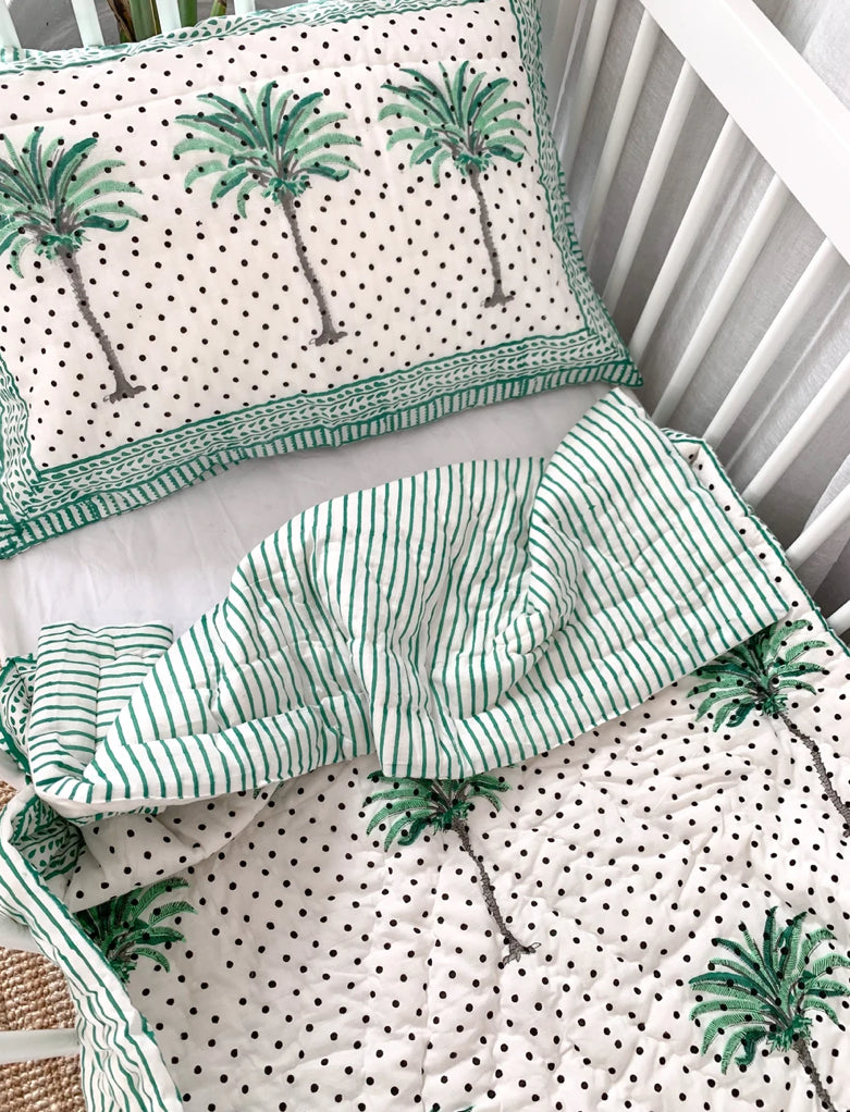 Cot Quilt ~ Cotton Filled ~ Green Spotty Palm