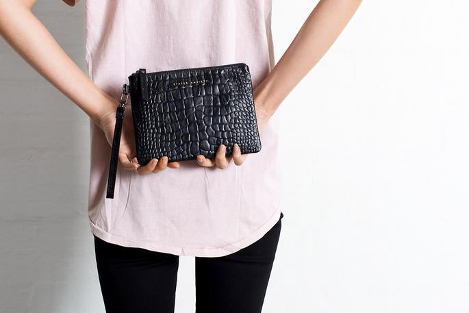Fixation Wallet Black Croc Emboss