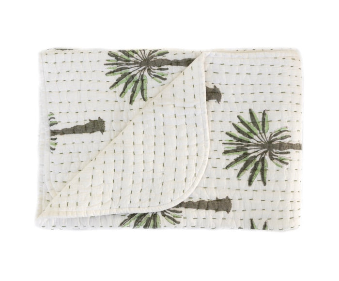 Mini kantha quilt boho palm, garzie and May