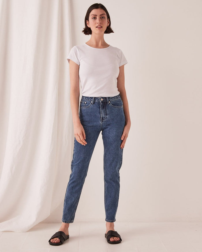 High Waist Rigid Jean Vintage Blue, Assembly Label, Mika and Max