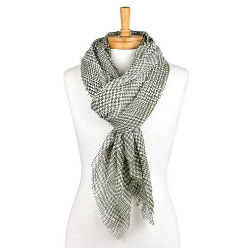Olive Mini Houndstooth Printed Scarf, Scarf, Taylor Hill - Mika and Max