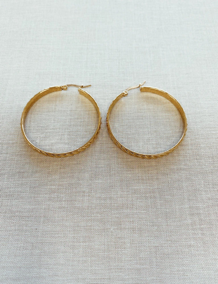 Kitsense Corey Large Textured Hoops