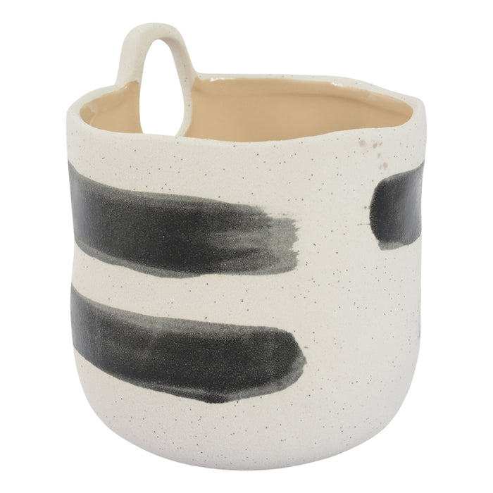 Moodi Planter Pot 14 x 15.5cm Black Brushstroke (INSTORE ONLY)