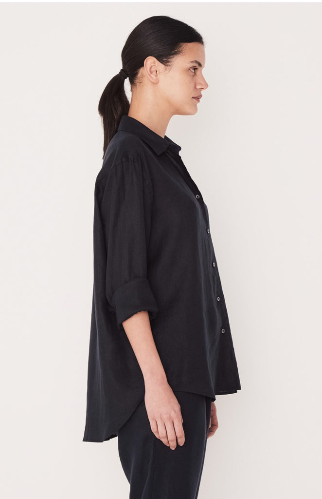 Xander Linen Shirt Black, Shirt, Assembly Label - Mika and Max