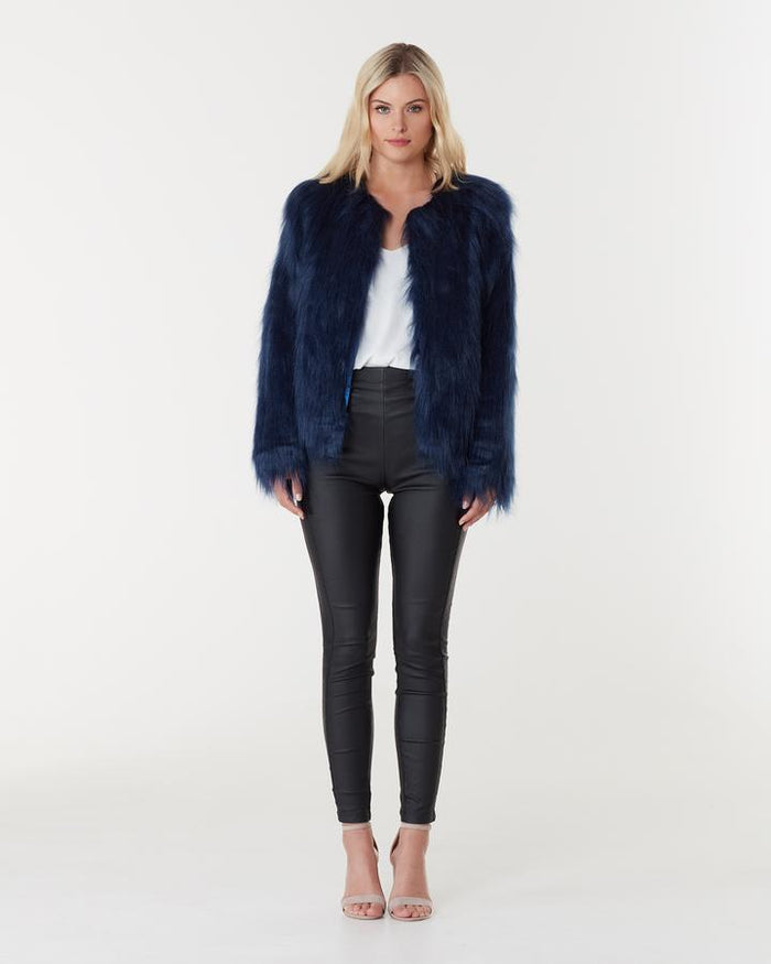 Marmont Faux Fur Jacket Midnight, Jacket, Everly Collective - Mika and Max
