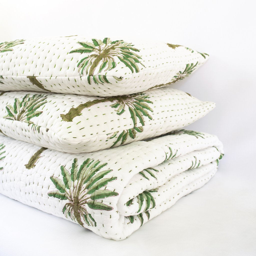 Boho Palm Kantha Quilt Queen/King, Kantha quilt, Garzie and May - Mika and Max