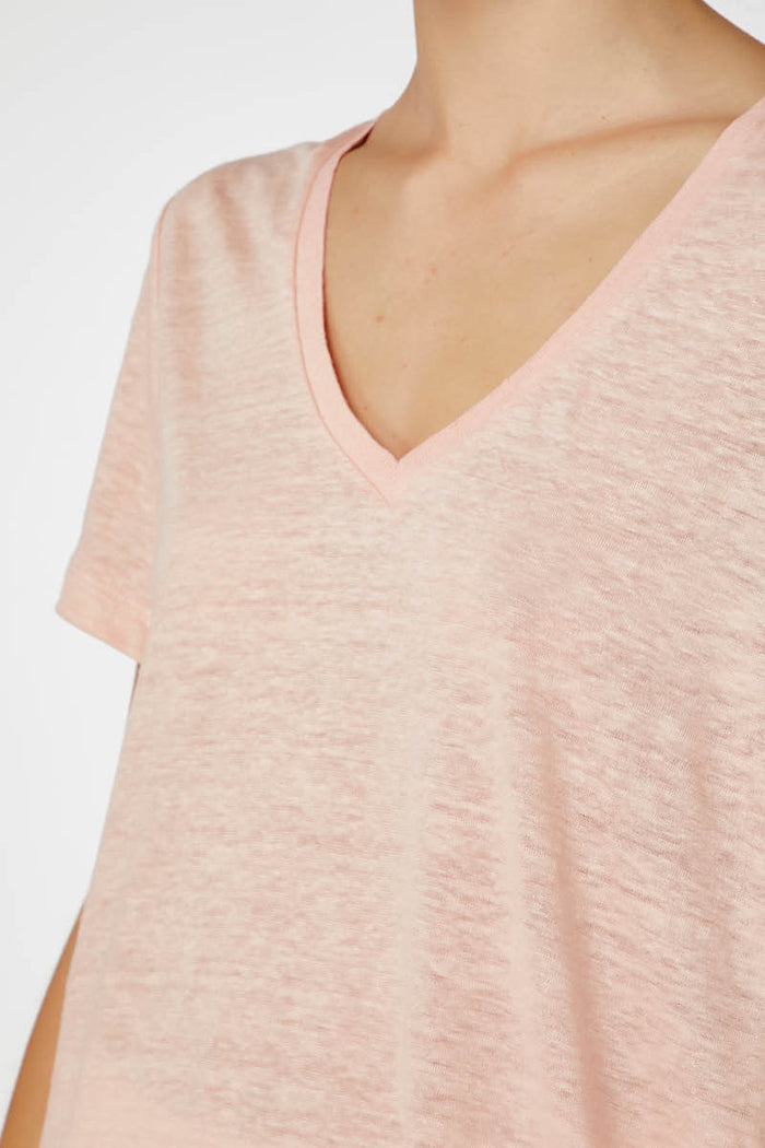 E.C Linen V Neck - Dusty Pink