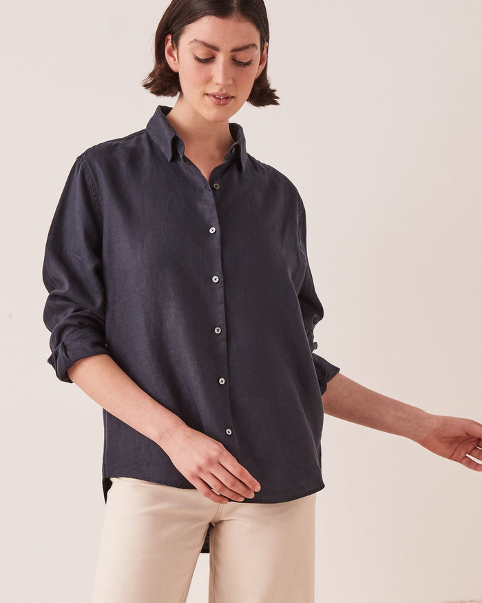 Xander Long Sleeve Shirt True Navy, Assembly Label, Mika and Max