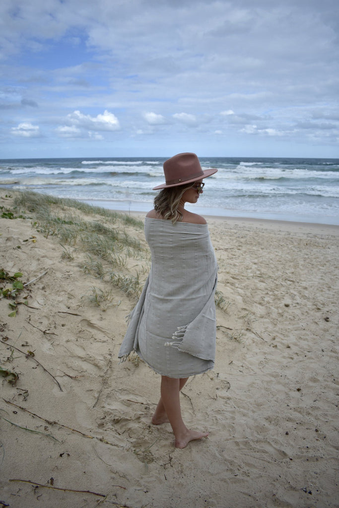Luxe Stonewash Turkish Towel/Throw - Desert Sand