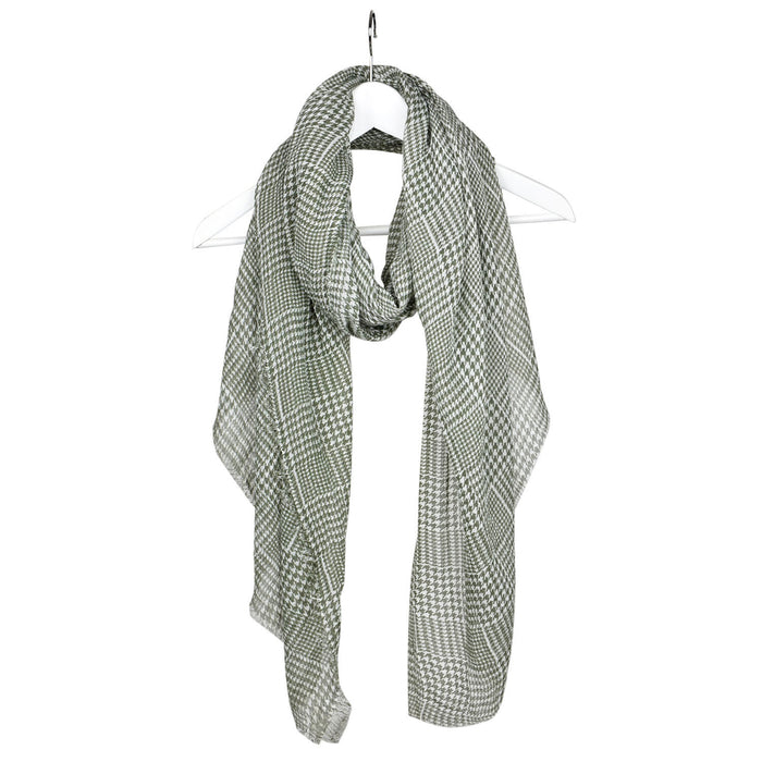 Olive Mini Houndstooth Printed Scarf