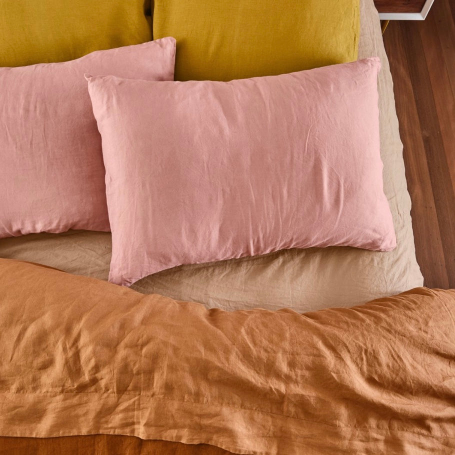 LINEN STANDARD PILLOWCASE SET - DUSK