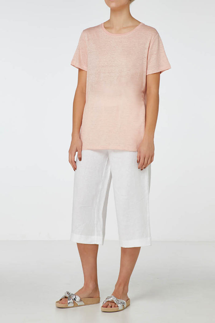 E.C Linen Crew Neck Tee - Dusty Pink, Tee, Elka Collective - Mika and Max