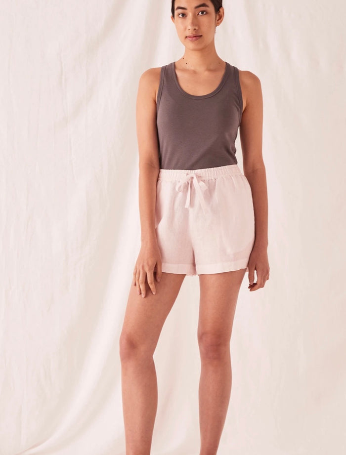 ANIKA LINEN SHORT PINK DEW, assembly label, Mika and Max