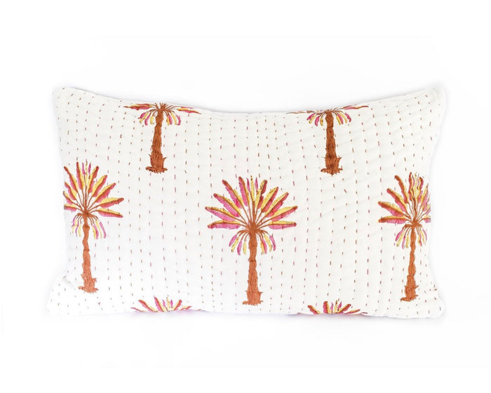 Peachy palm kantha pillow cover, garzie and May