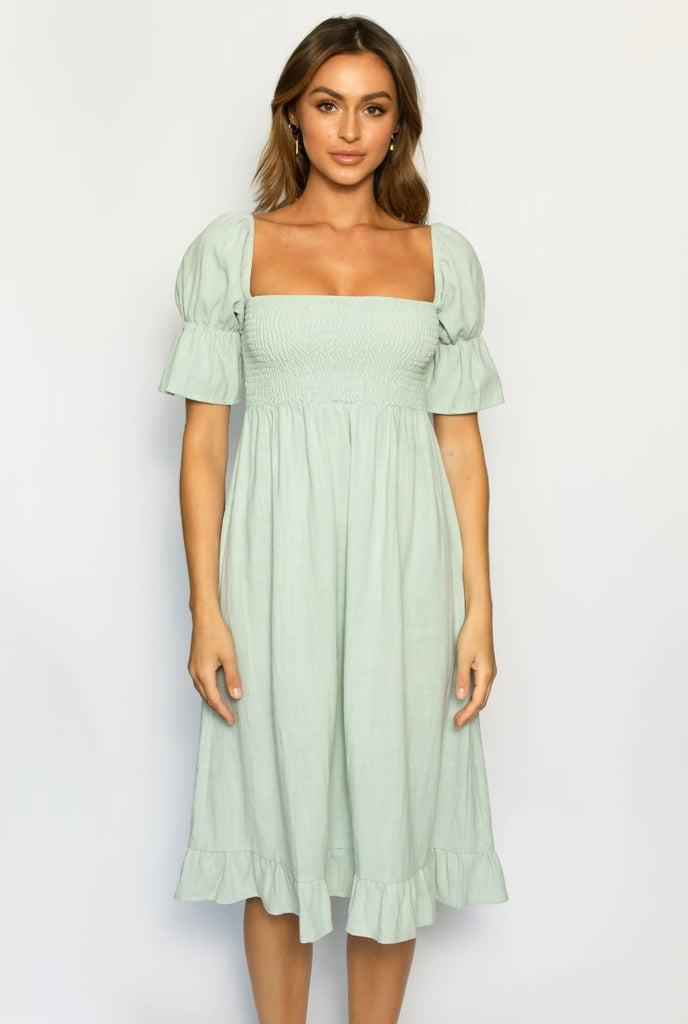 SOLEIL MIDI DRESS / SEAFOAM GREEN