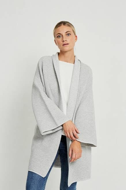 Ribbed kimono grey, little lies the label, Mika and max
