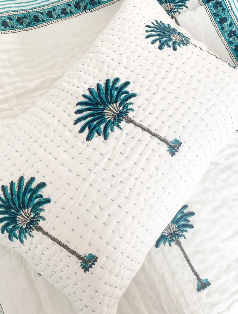 Pillow Case ~ Kantha Blue Palm