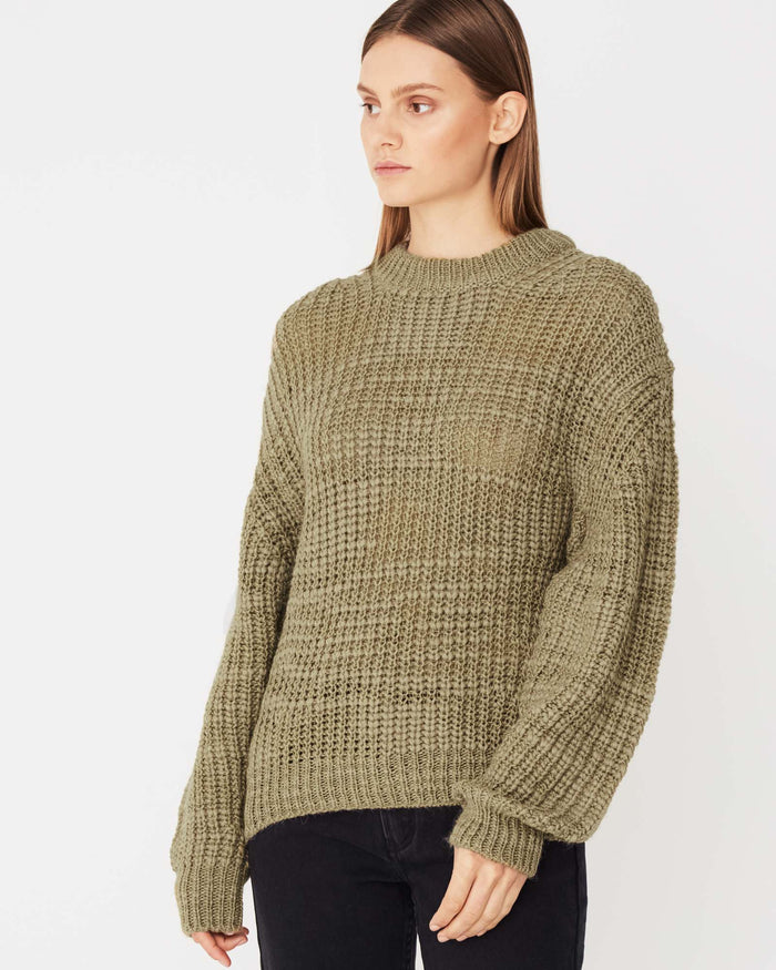 Textured knit Olive, assembly label