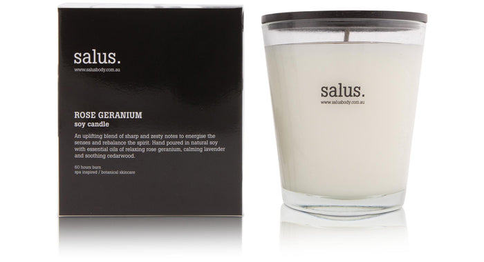 Rose Geranium Soy Candle, salus, Mika and max
