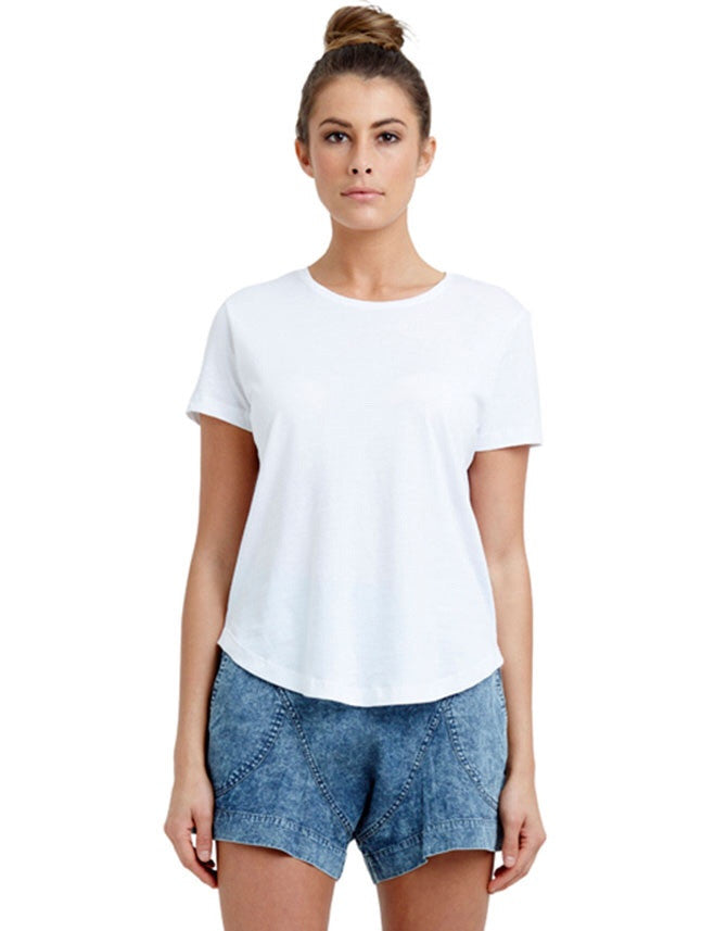 Basic Saddle Hem Tee White, tee shirts, Casa Amuk - Mika and Max