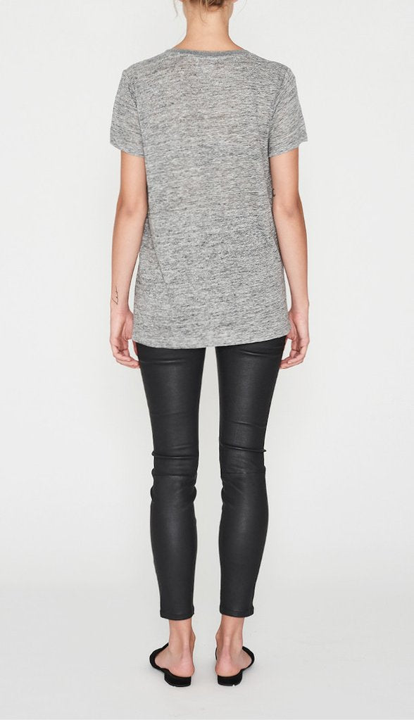 E.C Linen V Neck Tee - Grey Marle, tee shirts, Elka Collective - Mika and Max
