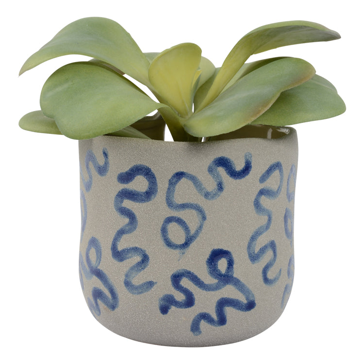 Moodi Planter Pot 11.5 x 12.5cm Blue Wave (INSTORE ONLY)