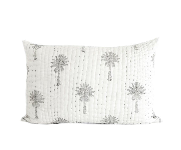 Sabal palm kantha pillow cover, Pillow cover, Garzie and May - Mika and Max