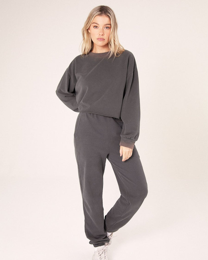 High Waisted Sweat Pants - Vintage Charcoal