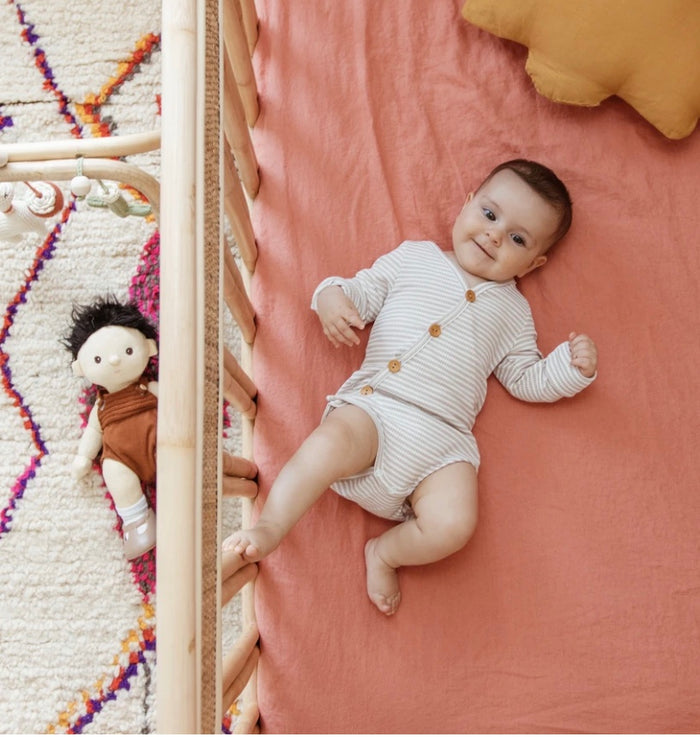 Fitted Cot Sheet - Coral