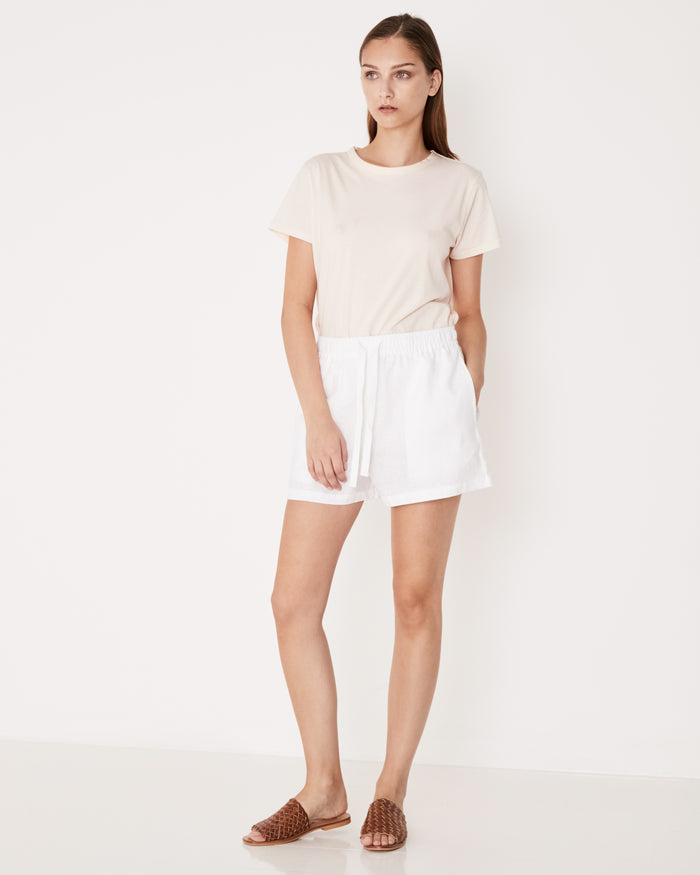 Base Linen Short White, Shorts, Assembly Label - Mika and Max