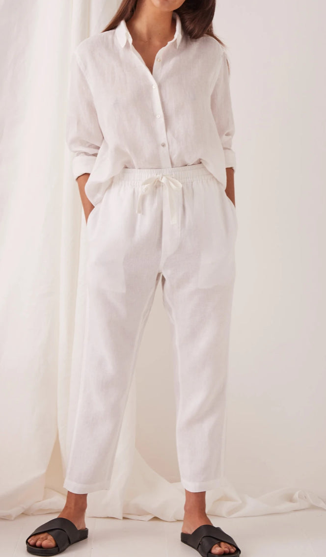 Anya linen pant, white, Mika and Max, assembly label