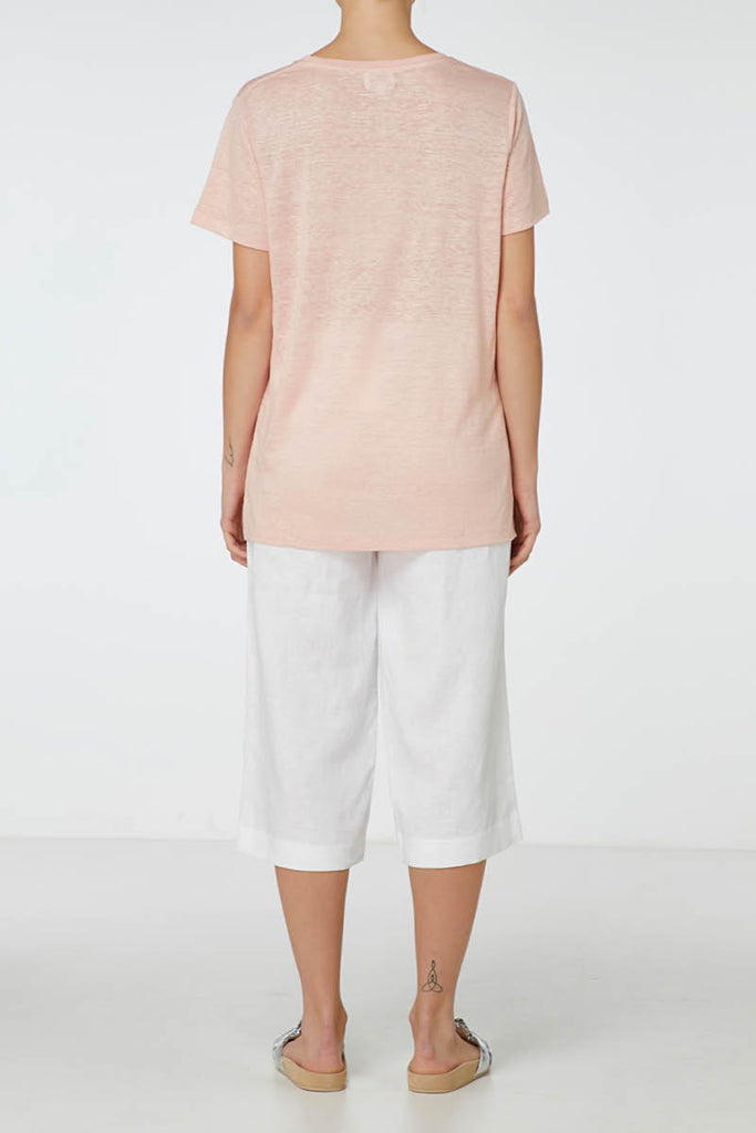 E.C Linen Crew Neck Tee - Dusty Pink