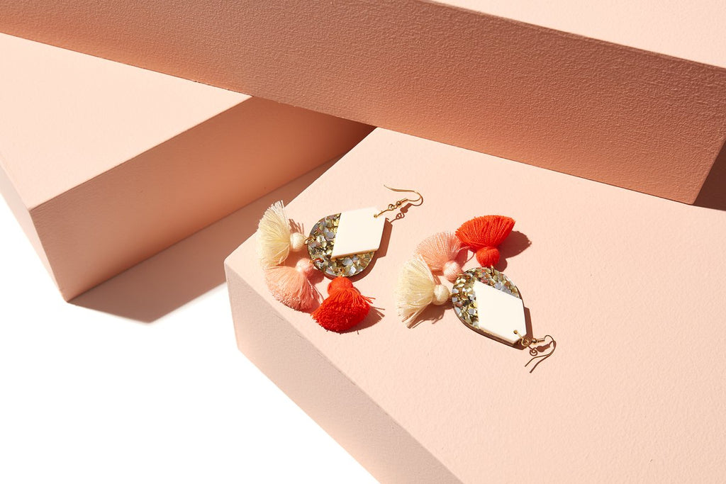 Carnival Earrings Silver and Cream with Neon Red, Peach + Cream