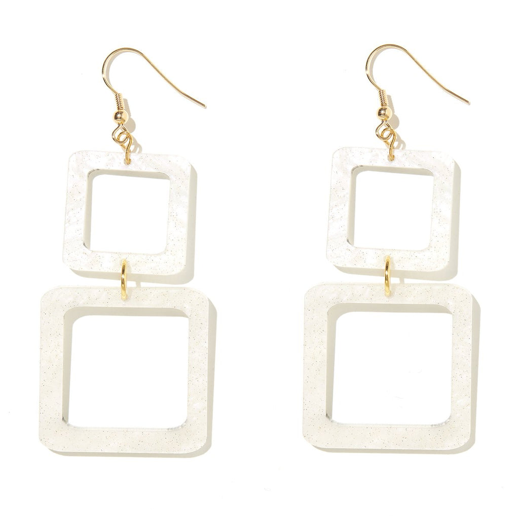 Kirby Earrings White Shimmery Retro Squares
