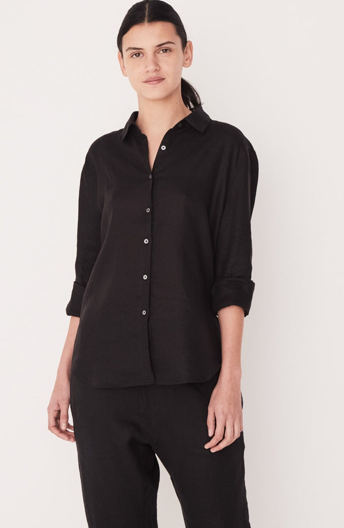 Xander Linen Shirt Black, Assembly Label