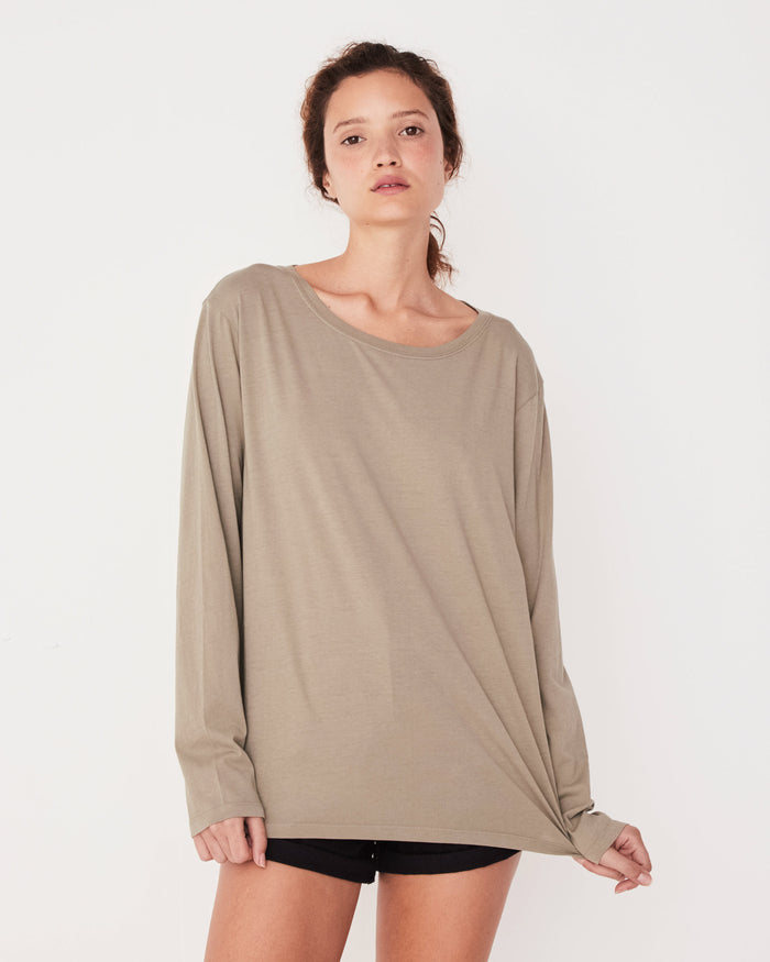 Bay Long Sleeve Seagrass, Tees, Assembly Label - Mika and Max