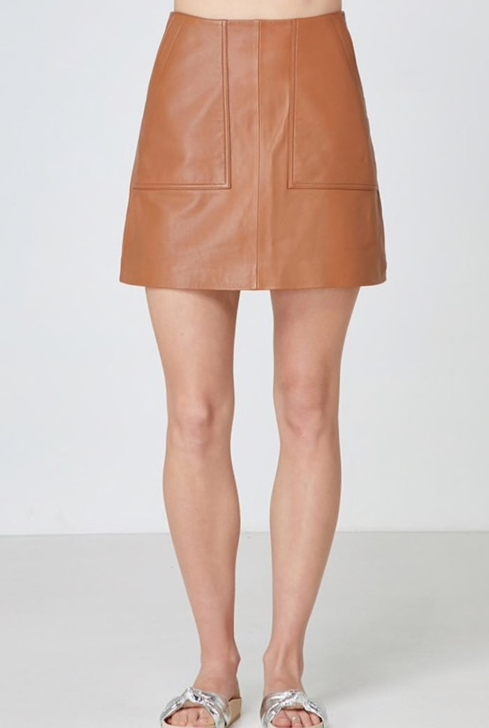 Lucette Leather Skirt, Elka Collective