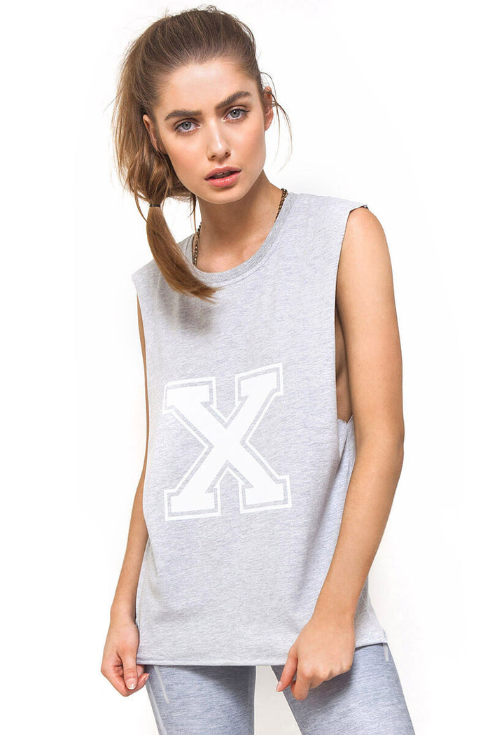 Varsity X Muscle Tank Grey, Tank, This Is First Base - Mika and Max