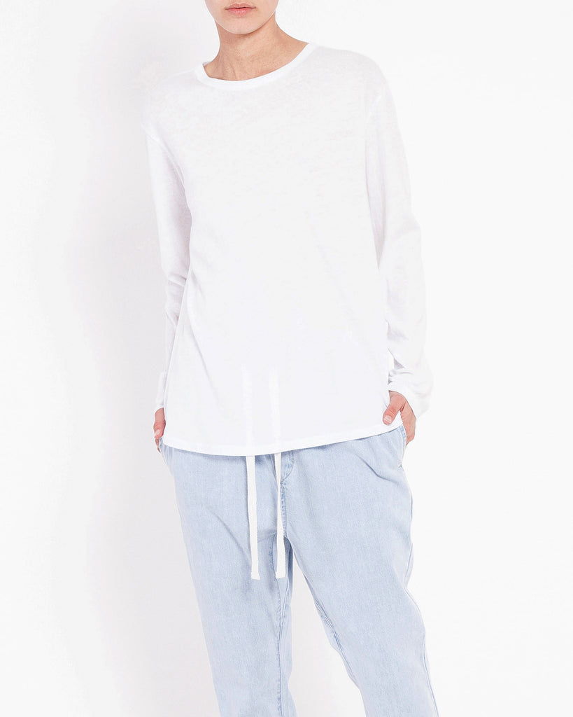 Bay Long Sleeve Tee - White, long sleeve tee, Assembly Label - Mika and Max