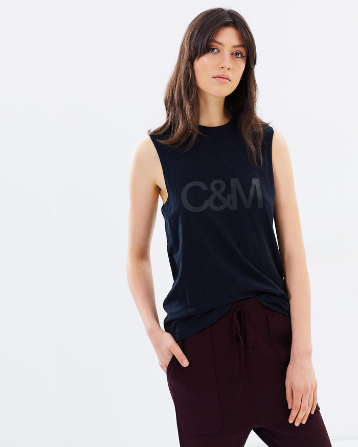 Black logo tank,  c&m tank, tank, camilla and Marc