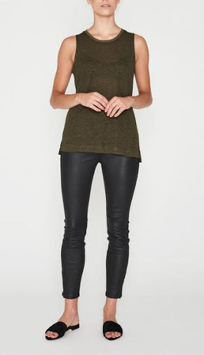 E.C Linen Tank - Military, Tank, Elka Collective - Mika and Max