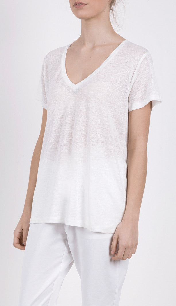 EC Linen V Neck White, Top, Elka Collective - Mika and Max