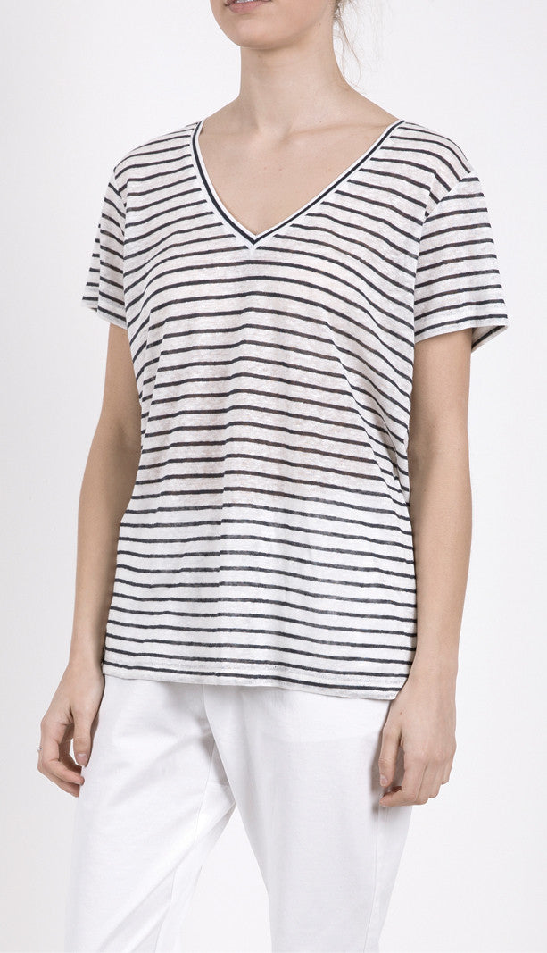 EC Linen V Neck Navy Stripe, Top, Elka Collective - Mika and Max