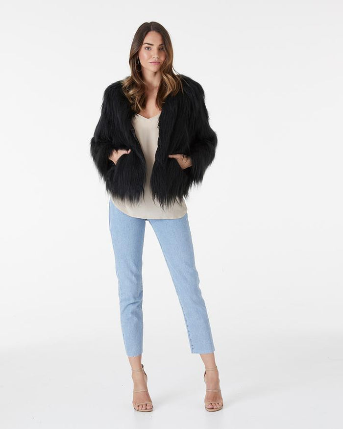 Marmont Faux Fur Jacket Black, Jacket, Everly - Mika and Max