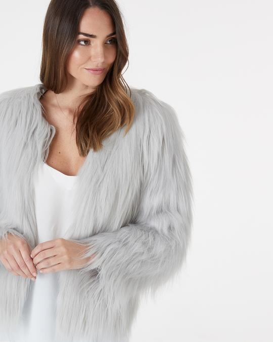 Marmont Faux Fur Jacket Grey