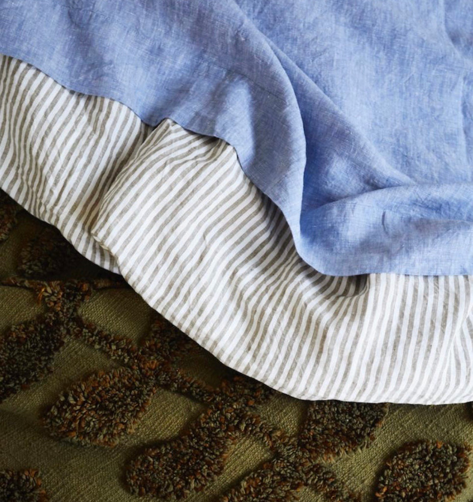 LINEN QUILT COVER - MOSS STRIPE KING, Homewares, Sage and Clare - Mika and Max