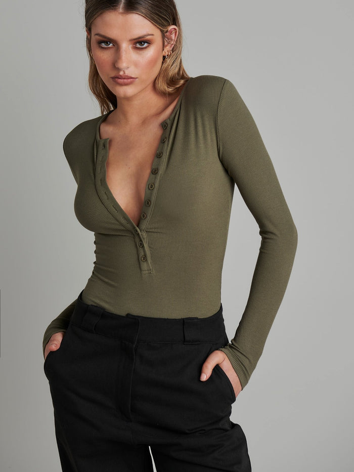 Long Sleeve Crew Neck Button Down Bodysuit - Khaki