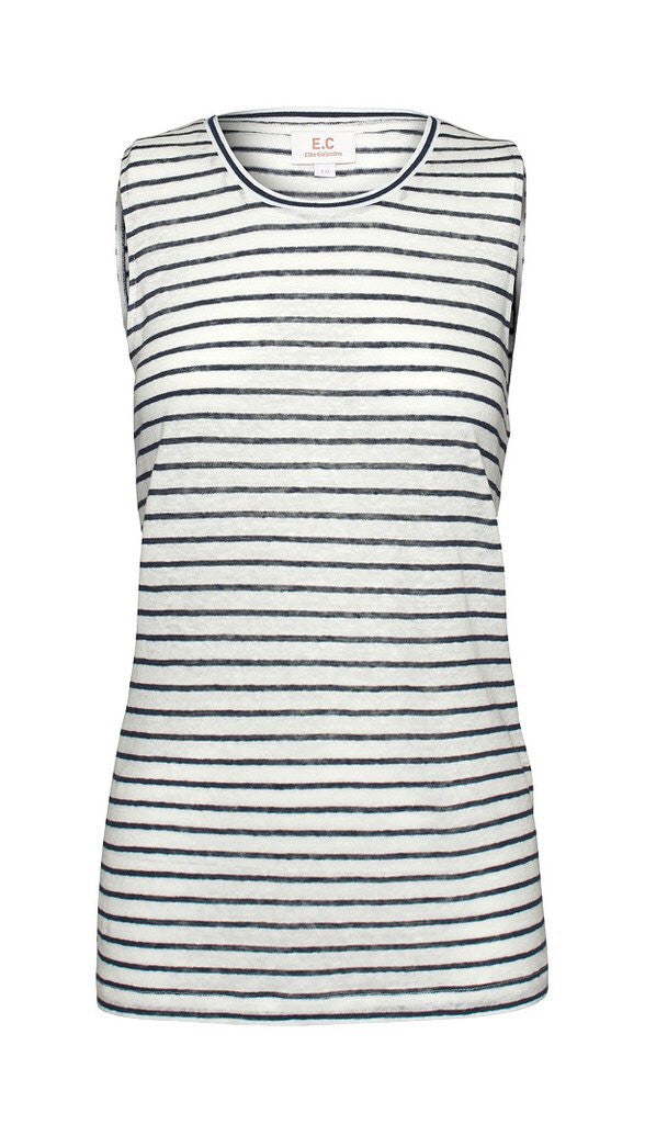 E.C Linen Tank - Navy Stripe, Top, Elka Collective - Mika and Max